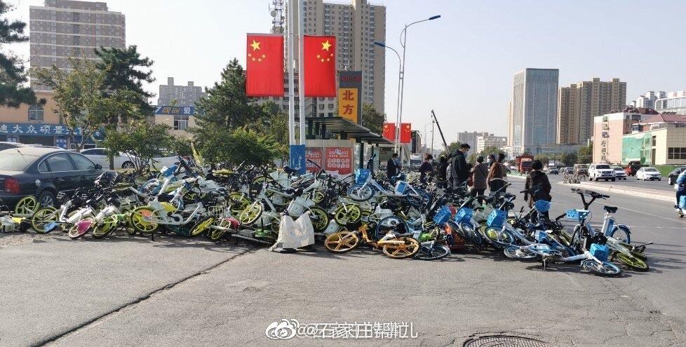 共享单车乱停乱放堆积成山影响交通