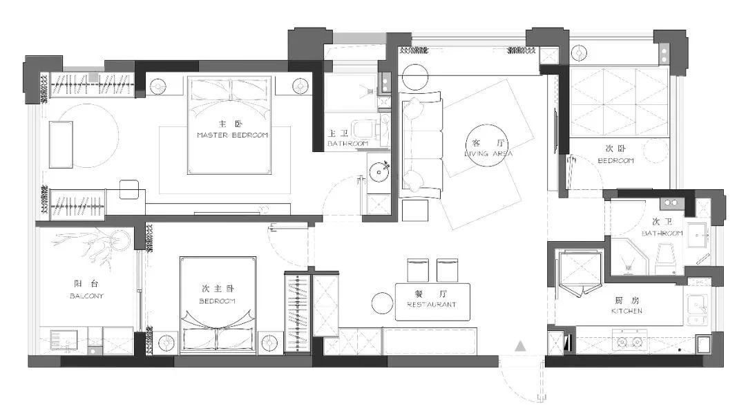 126平的三居室,独特的后现代风,充满了轻奢感